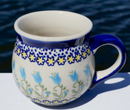 Polish Pottery Stoneware Bubble Mug-Blue Tulip