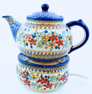 Polish Pottery Large Stoneware Teapot with Warmer - Grandma's Garden