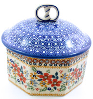 Polish Pottery Pretzel Box - Grandma's Garden