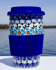 Polish Pottery Travel Mug- Topaz