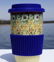 Polish Pottery Travel Mug - Sunlit Meadow