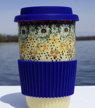 Polish Pottery Travel Mug - Sunlit Meadow