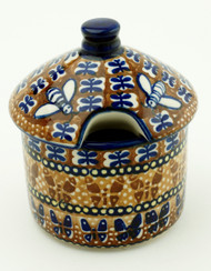 Polish Pottery Honey Pot- Amber Butterfly