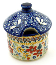 Polish Pottery Honey Pot- Grandma's Garden