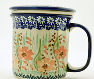 Polish Pottery Tea Mug & Infuser-Marigold