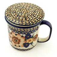 Polish Pottery Tea Mug & Infuser-Golden Fields