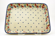 "Polish Pottery 9""X 11"" Rectangular Baker- Field of Poppies"