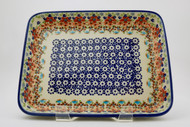 "Polish Pottery 9""X 11"" Rectangular Baker- Friends"