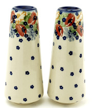 Polish Pottery Tall Salt & Pepper-Field of Poppies