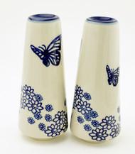 Polish Pottery Tall Salt & Pepper-Butterfly Dance