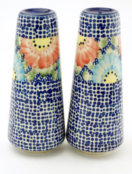 Polish Pottery Tall Salt & Pepper-Straw Flower