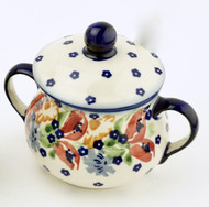 Polish Pottery Sugar Bowl - Field of Poppies