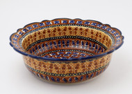 "Polish Pottery 8.5"" Rim  Bowl -Amber Butterfly"