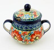 Polish Pottery Sugar Bowl - Circle of Poppies