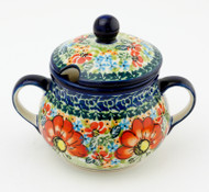 Polish Pottery Sugar Bowl - Circle of Poppies
