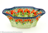 "Polish Pottery 11""Ornate Bowl -Circle of Poppies"