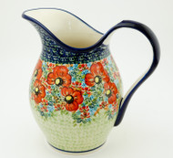 Polish Pottery Stoneware Pitcher - Circle of Poppies