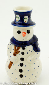 Polish Pottery Snowman Candle- Peacock Zaklady