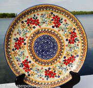 "Polish Pottery Stoneware 10"" Dinner Plate - Grandma's Garden"