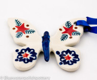 Polish Pottery Butterfly Ornament - Winter Star