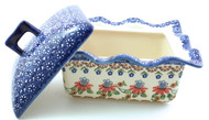 Polish Pottery Rectangular Covered Baker - Cone Flower