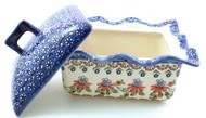 Polish Pottery Rectangular Covered Baker - Cone Flower