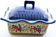 Polish Pottery Rectangular Covered Baker - Grandma's Garden