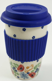 Polish Pottery Travel Mug - Field of Poppies