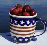 Polish Pottery 13 oz Stoneware Mug- Stars & Stripes