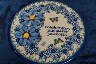 Polish Pottery Round Cutting Board/ Trivet   Just Happy