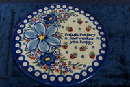 Polish Pottery Round Cutting Board/ Trivet   So Happy
