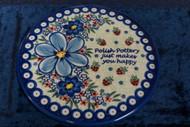Polish Pottery Round Cutting Board/ Trivet   So Happy