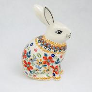 """6"""" Polish Pottery Unikat Bunny Grandma's Garden"""