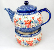Polish Pottery 1.5L Stoneware Teapot with Warmer  AUDREY