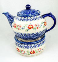 Polish Pottery 1.5L Stoneware Teapot with Warmer  ENGLISH ROSE