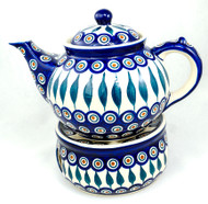 Polish Pottery 1.5L Stoneware Teapot with Warmer  PEACOCK