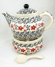 Polish Pottery 1.5L Stoneware Teapot with Warmer  MANHATTAN