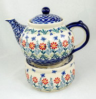 Polish Pottery 1.5L Stoneware Teapot with Warmer  BUTTERFLY DELIGHT