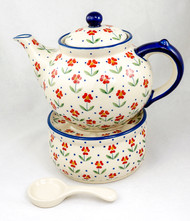 Polish Pottery 1.5L Stoneware Teapot with Warmer  SIMPLE ELEGANCE