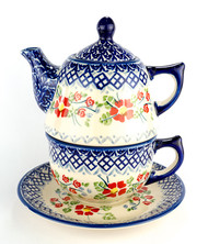 TEAPOT WITH CUP & SAUCER ENGLISH ROSE