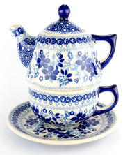 TEAPOT WITH CUP & SAUCER CIRCLES OF BLEU