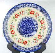 "Polish Pottery Stoneware 10"" Dinner Plate -ENGLISH ROSE"
