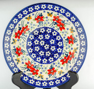 """Polish Pottery Stoneware 10"""" Dinner Plate -LOVE IN BLOOM"""