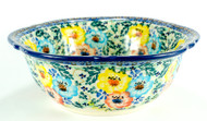 "11"" Polish Pottery Signature Unikat Retro Bowl -Primary Colors"
