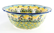 "11"" Polish Pottery Signature Unikat Retro Bowl -Tranquility"