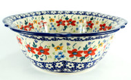 "11"" Polish Pottery Unikat Retro Bowl -Love in Bloom"