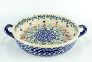 """10.2"""" ROUND BAKER W/ HANDLES Butterfly Delight"""