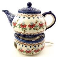 Polish Pottery Large Stoneware Teapot with Warmer - Cone Flower