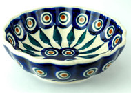 Polish Pottery Berry Bowl-  Peacock