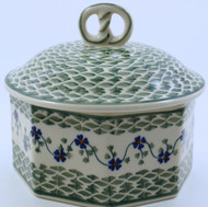 Polish Pottery Stoneware Pretzel Box - Rhine Valley